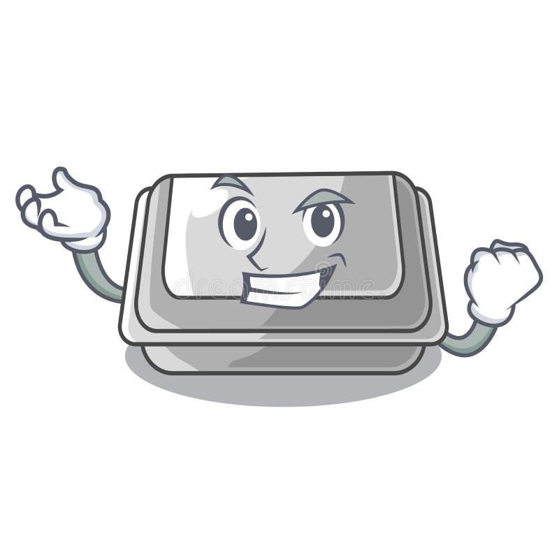 Successful plastic box in the mascot shape. Vector illustration stock illustration