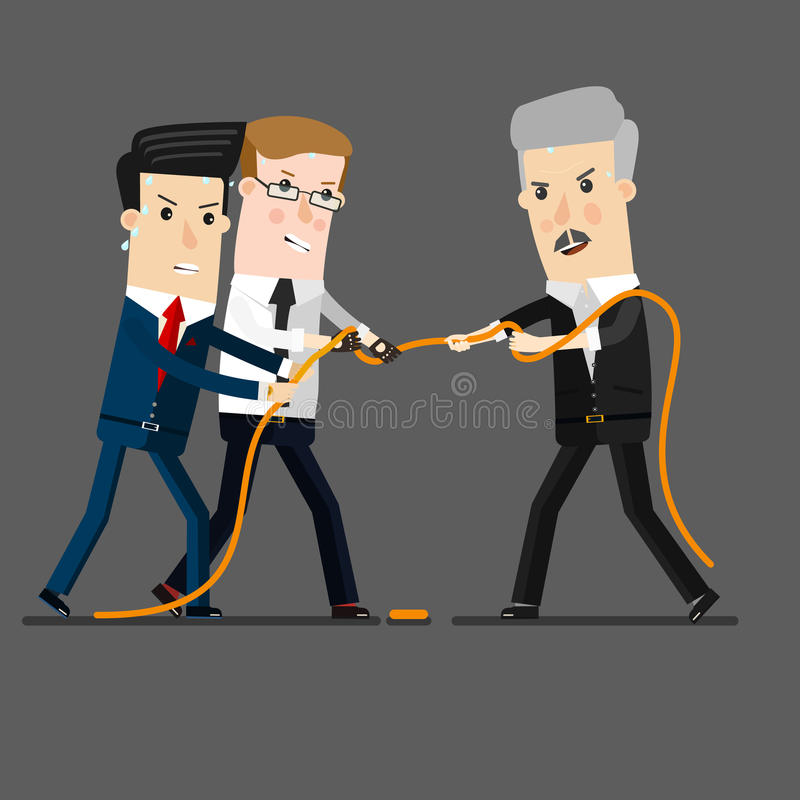 Successful and powerful businessman competing with group businessmen in a tug of war battle, for leadership or business vector illustration