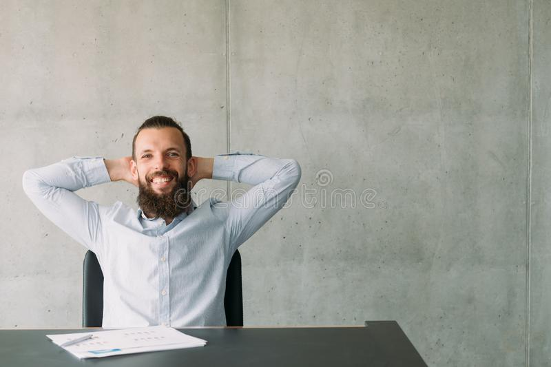Successful professional career hipster guy office stock photography