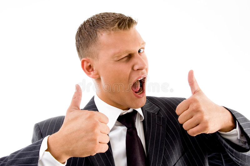 Successful professional person showing thumbs up. On an isolated background royalty free stock photo