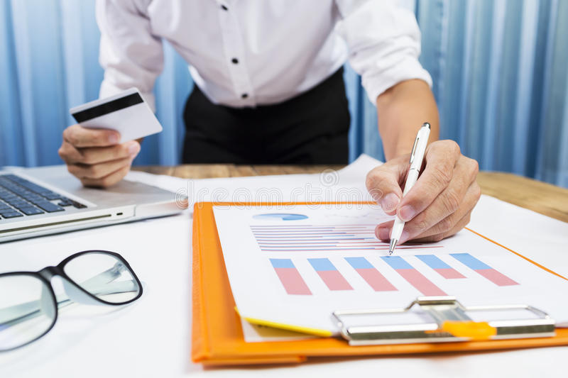 Successful project with business man working financial c stock photos