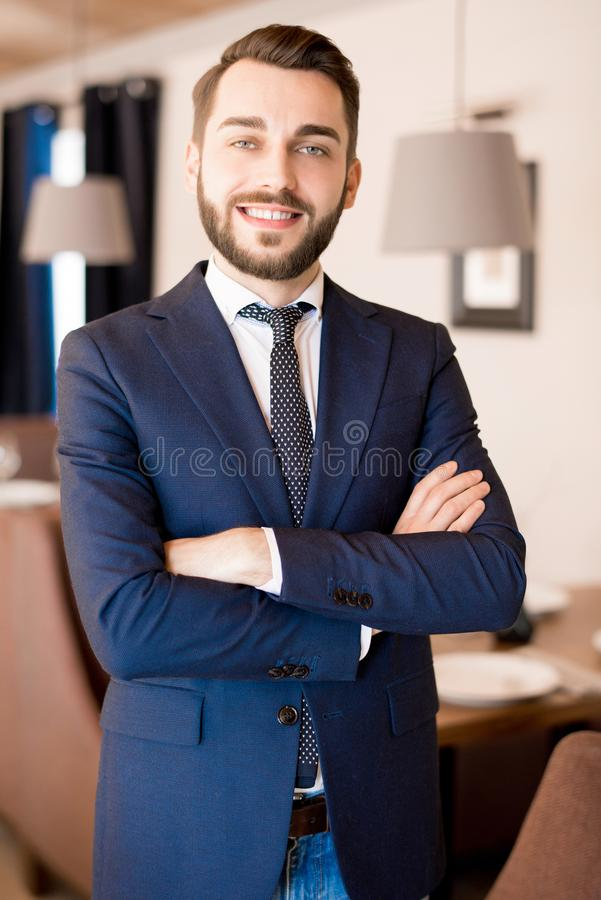 Successful restaurant owner in his establishment royalty free stock images
