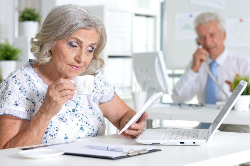 Portrait of successful senior businesspeople working together stock photography