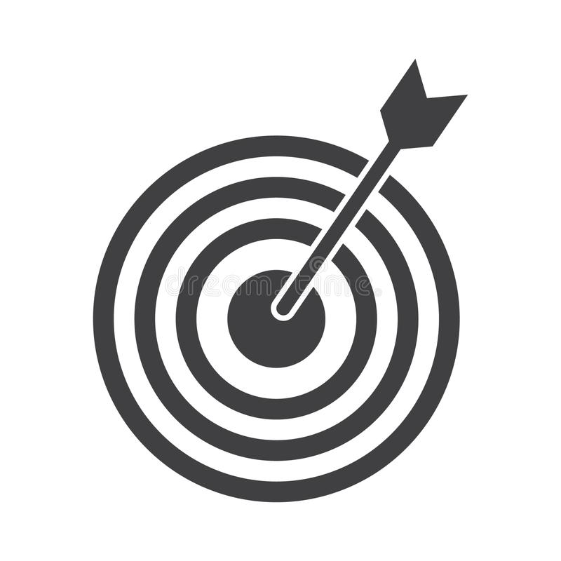 Successful shoot. Darts target aim icon on white background. Vector illustration. stock illustration