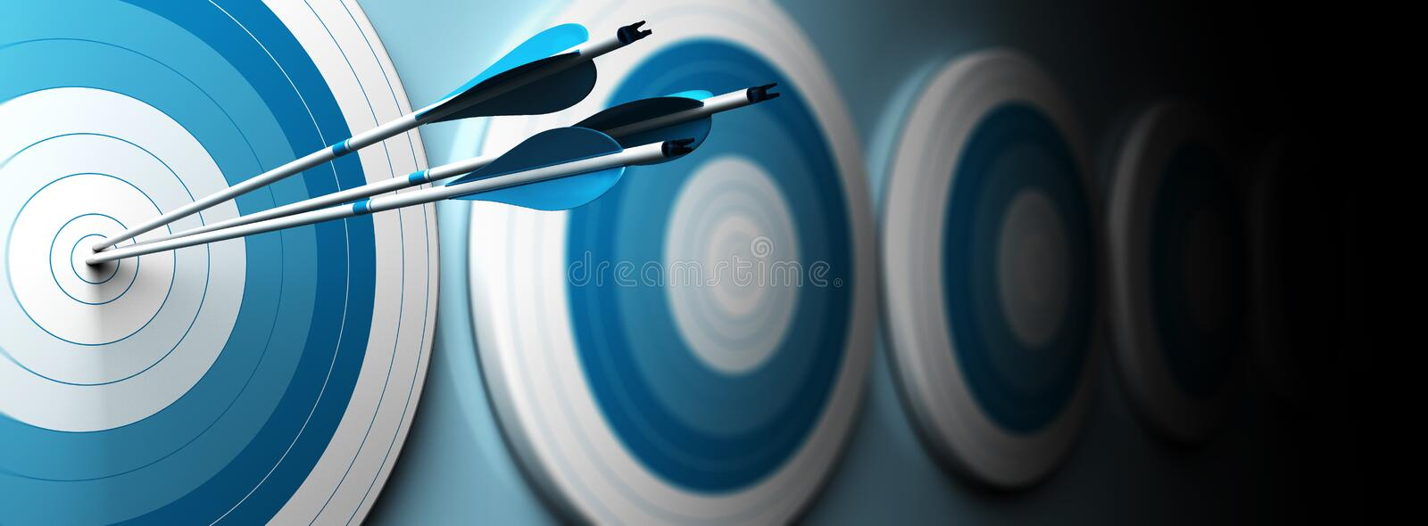 Successful shot. Many blue targets and three arrows hitting the center of the first one, horizontal image, banner style vector illustration