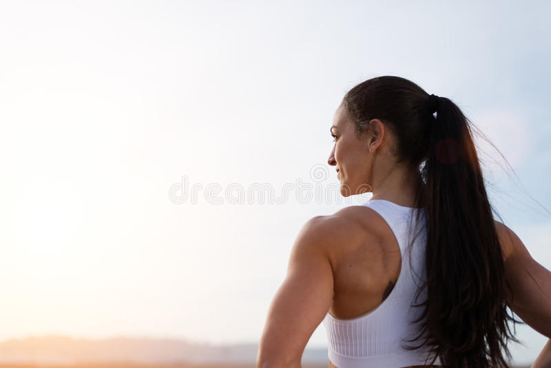Successful strong female fitness athlete royalty free stock images