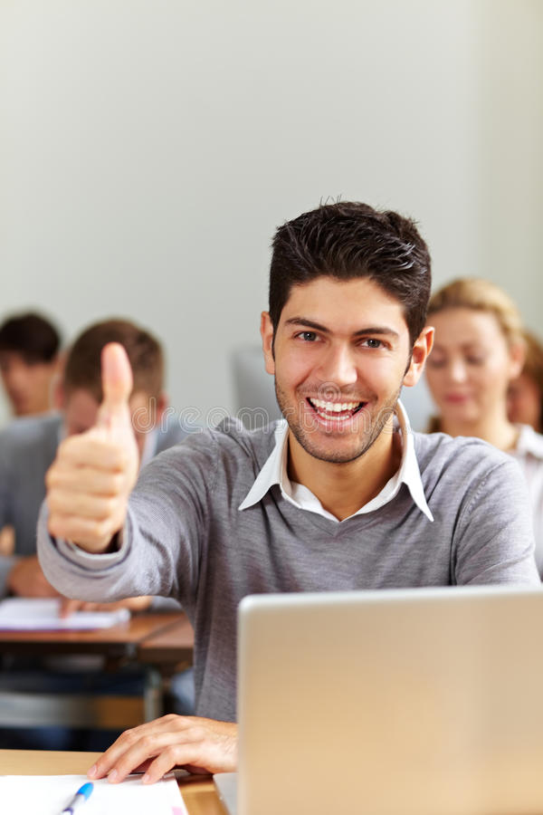 Successful Student At Laptop Stock Photo