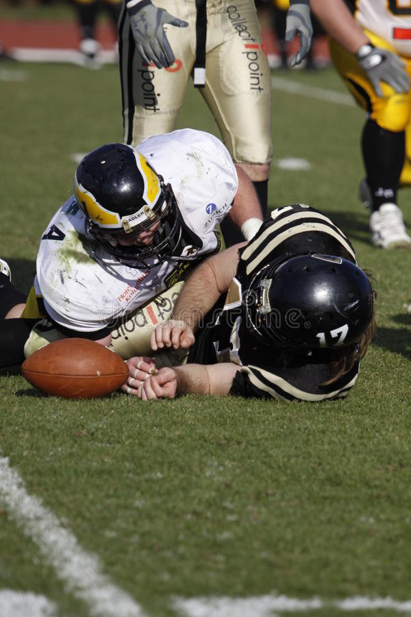 Successful tackle at american football royalty free stock images