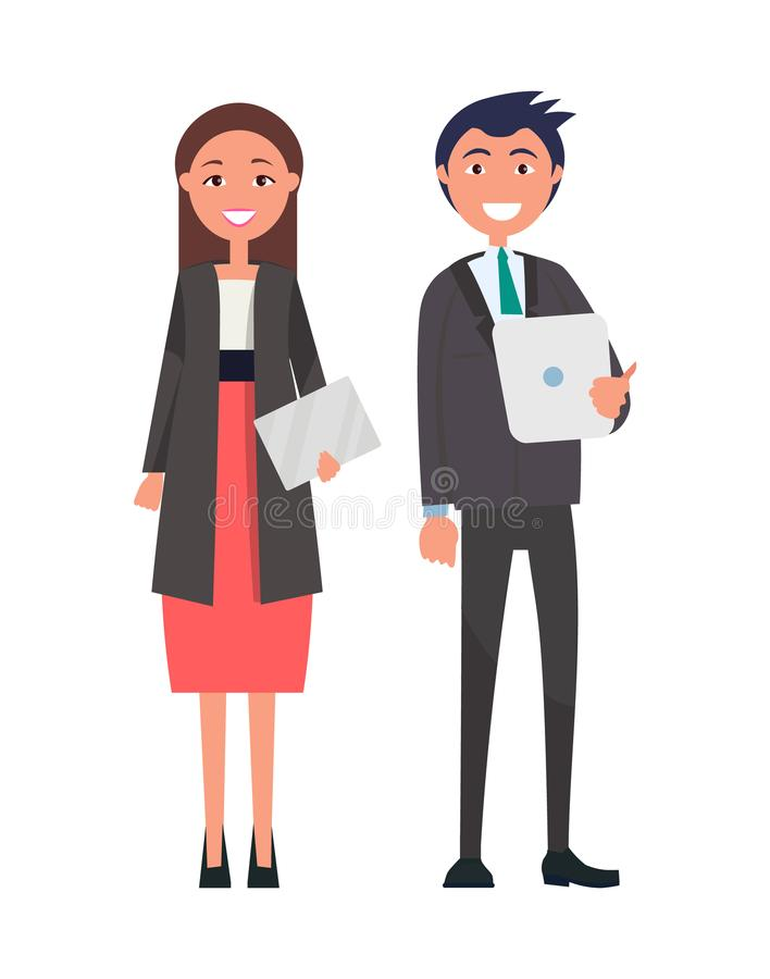 Successful Team Confident Leaders Vector Man Woman. Successful team, confident leaders vector well-dressed brunette woman in red skirt on high heels, with stock illustration
