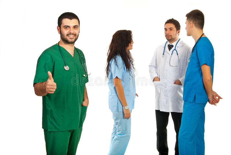 Successful team of doctors stock images