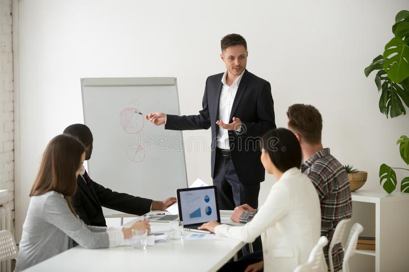 Successful team leader presenting new project to employees at me royalty free stock image