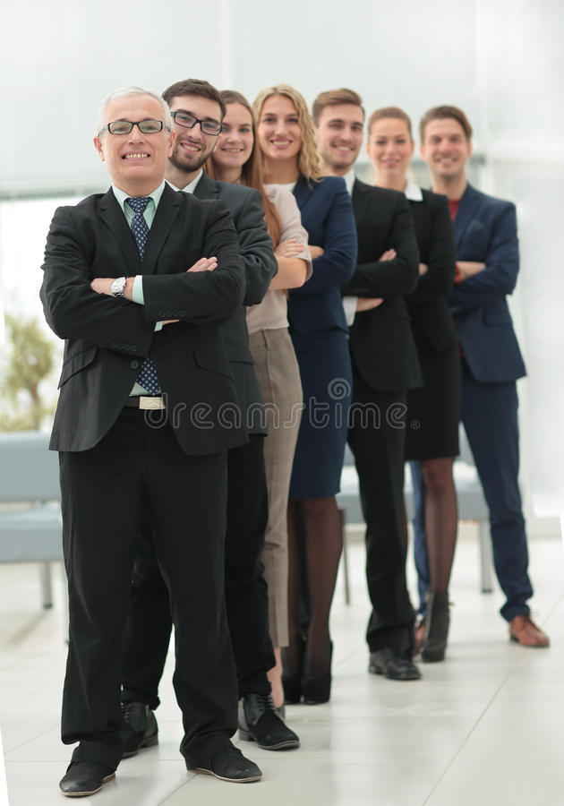 Successful team of staff standing in a row royalty free stock images