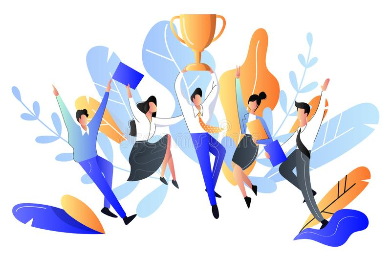 Successful team or teamwork concept. Vector flat style illustration. Happy young people got prize, business metaphor stock illustration