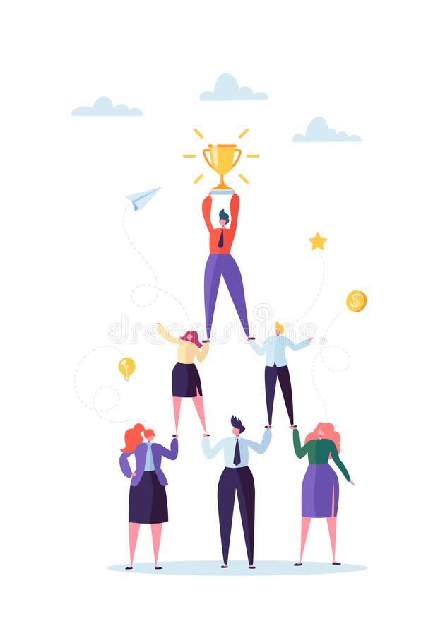 Successful Team Work Concept. Pyramid of Business People. Leader Holding Golden Cup on the Top. Leadership, Teamworking vector illustration