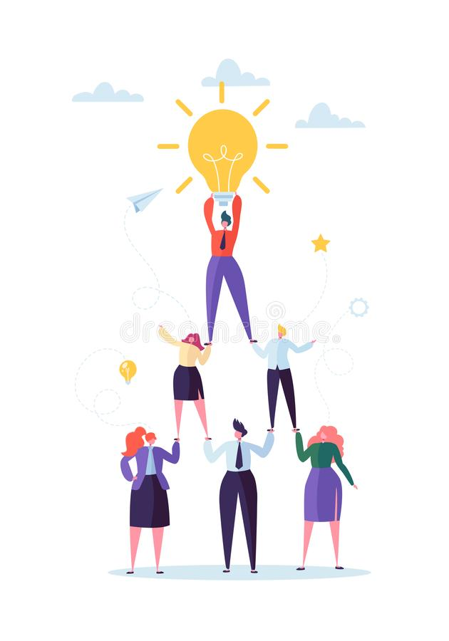 Successful Team Work Concept. Pyramid of Business People. Leader Holding Light Bulb on the Top. Leadership, Teamworking vector illustration