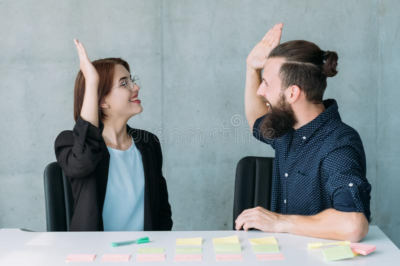 Successful teamwork business partners agreement stock image