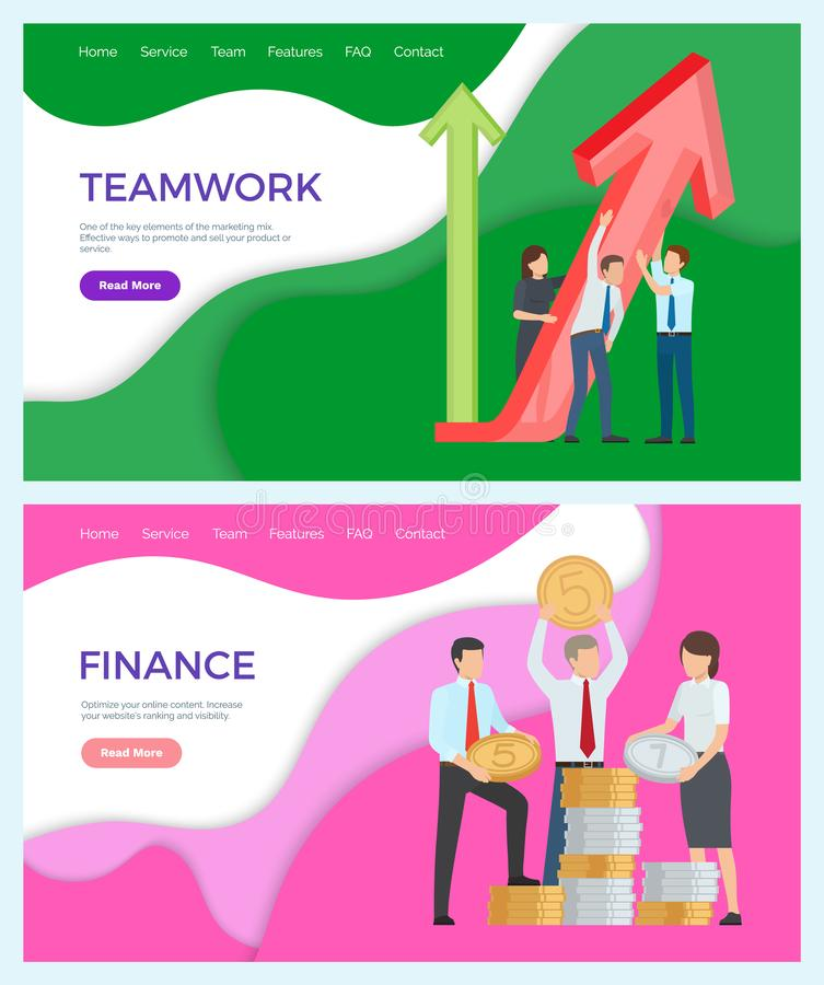 Successful Teamwork Finances Workers with Coins vector illustration