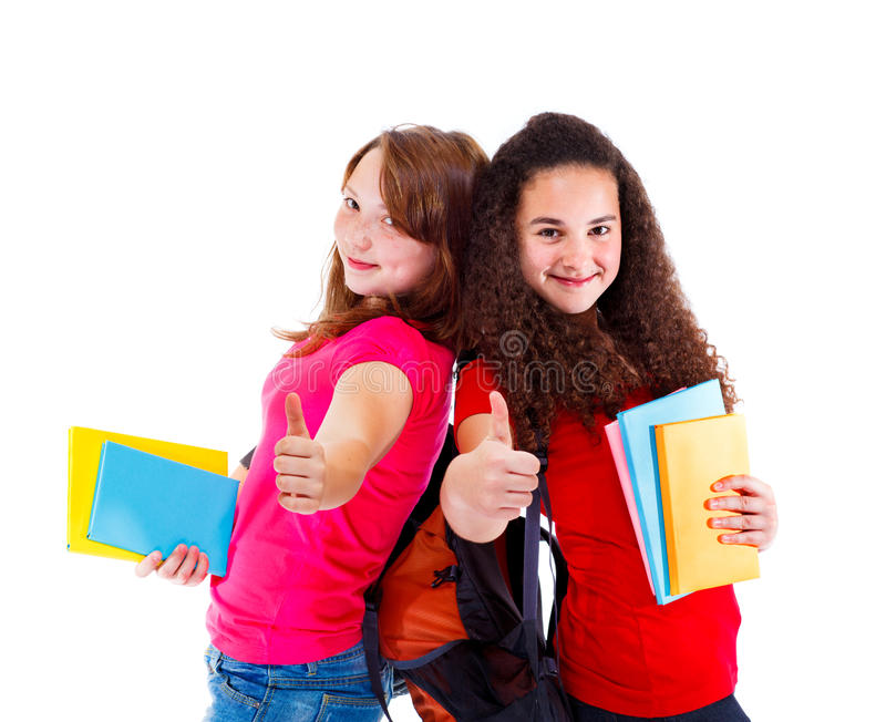 Successful teens with books stock photo
