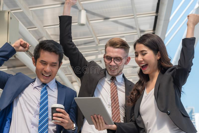 Successful trader concept : businessman happy investing , grow m stock photography