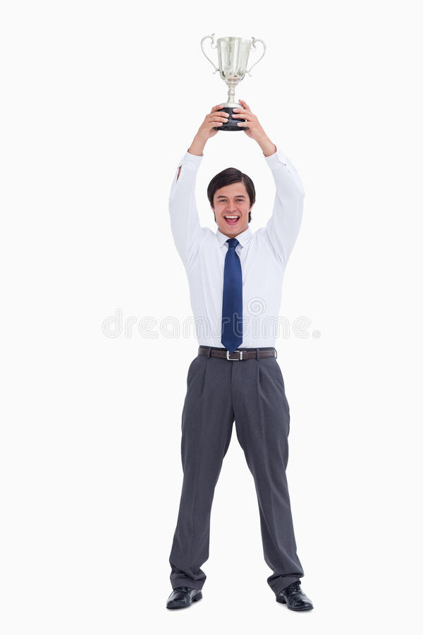 Download Successful Tradesman Holding Cup Stock Photo - Image of trade, pride: 23015532