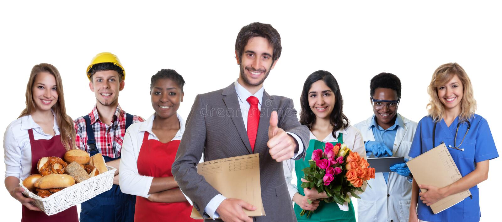 Successful turkish business trainee with group of latin and african apprentices royalty free stock photos