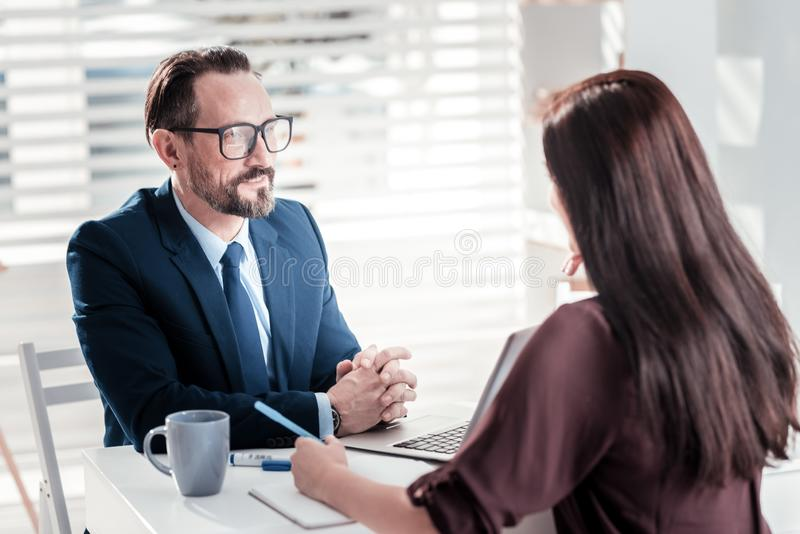 Successful two colleagues discussing goals royalty free stock photography