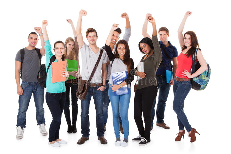 Successful University Students Over White Background royalty free stock image