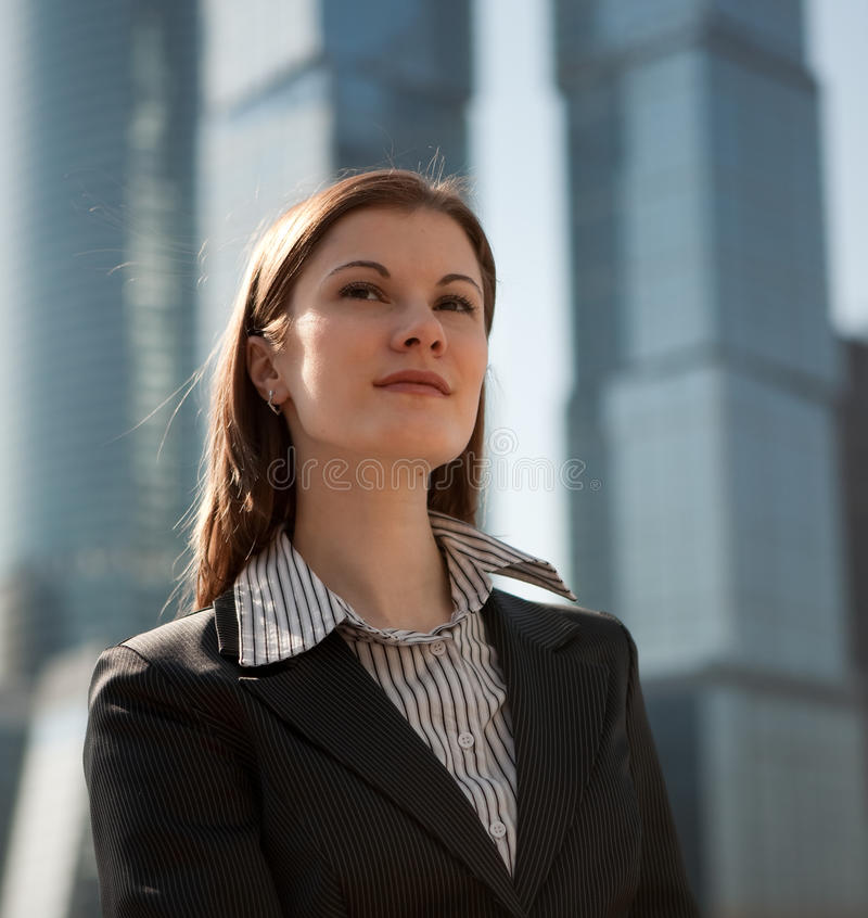 Download Successful Woman Against The Business Center Royalty Free Stock Images - Image: 9536639