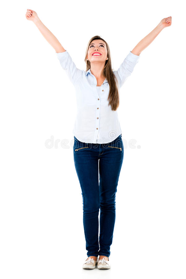 Download Successful Woman With Arms Up Stock Image - Image of excited, hispanic: 33414611