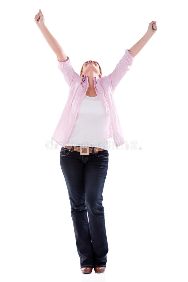 Download Successful Woman With Arms Up Stock Photo - Image: 32659872