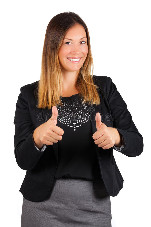 Successful woman. Female with thumbs up. Smiling royalty free stock photography
