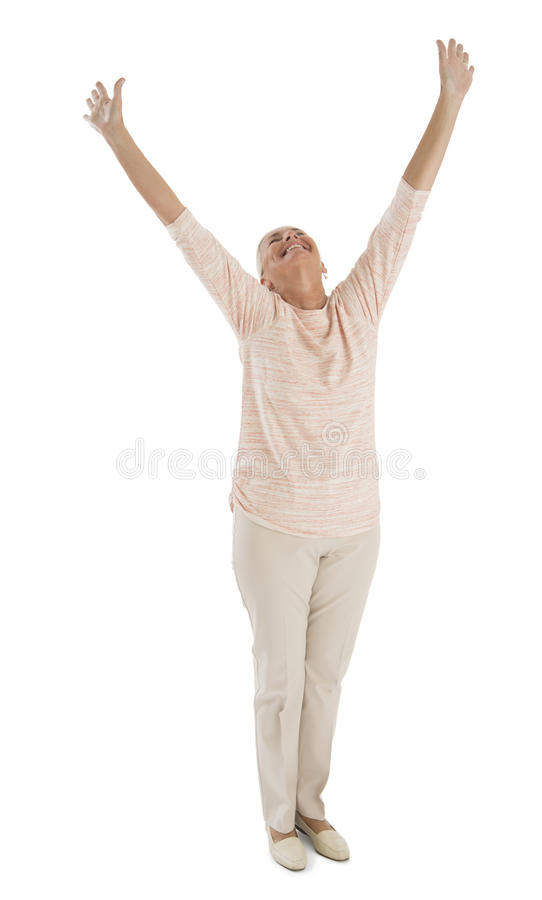 Download Successful Woman With Hands Raised Over White Background Stock Photography - Image: 34512042
