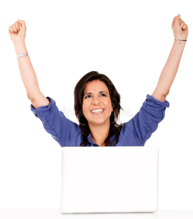 Download Successful Woman With A Laptop Stock Photo - Image of internet, woman: 18789846