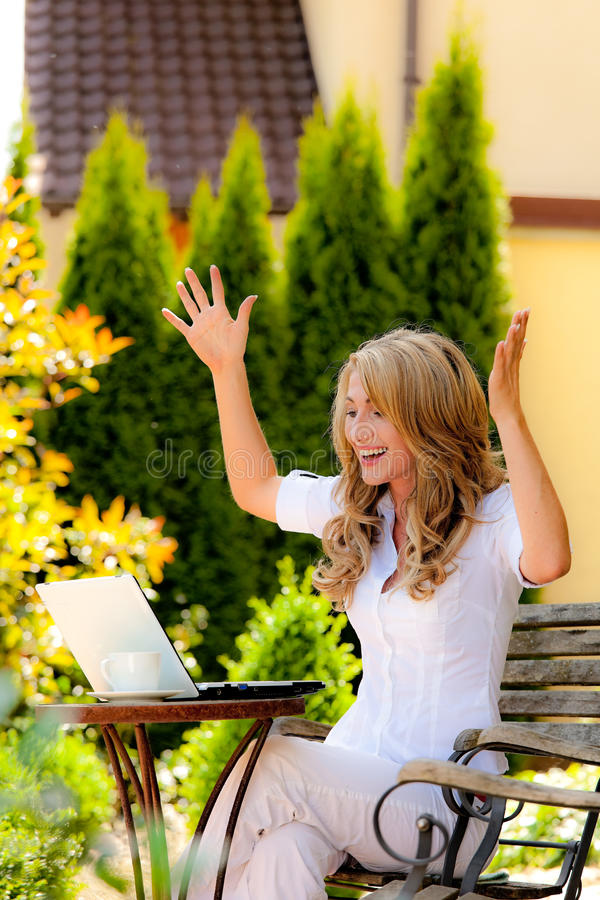 Download Successful Woman With A Laptop In The Garden Stock Photography - Image: 11581302