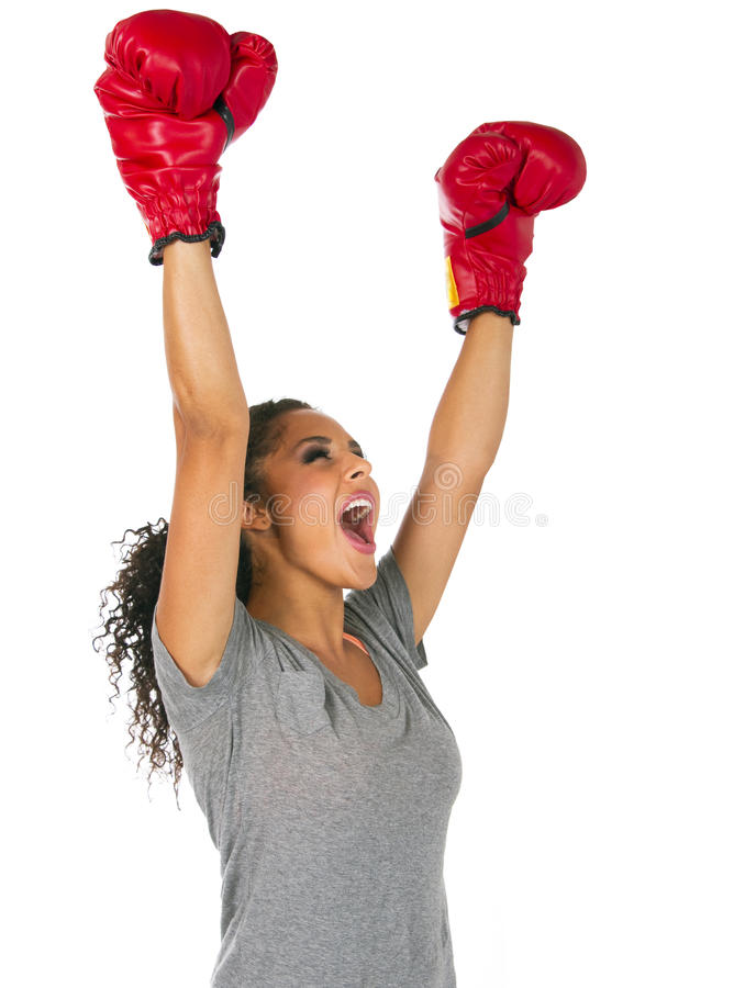 Successful young brunette female boxer royalty free stock images