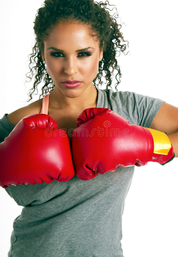 Successful young brunette female boxer stock photo