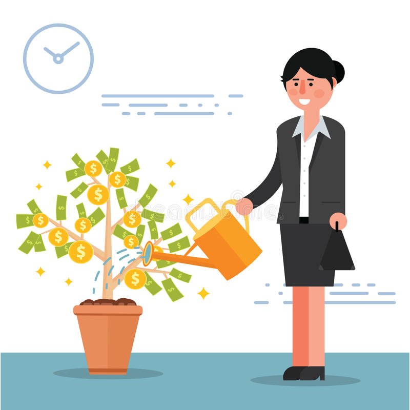 Successful young businesswoman or broker watering money tree. Ca. Rtoon vector illustration of female manager or lady boss as concept of financial growth and royalty free illustration