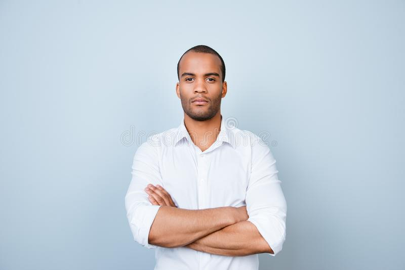 Successful young handsome mulatto american guy banker in formal royalty free stock photos