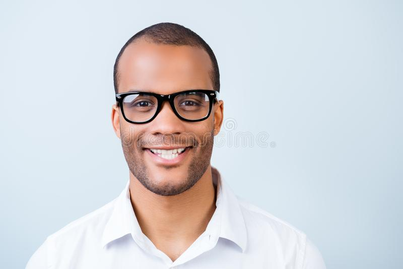 Successful young handsome mulatto american student in formal out stock image