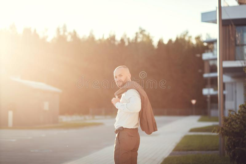 Successful young male manager stock image