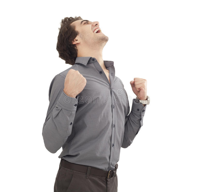 Successful young man arms up stock image
