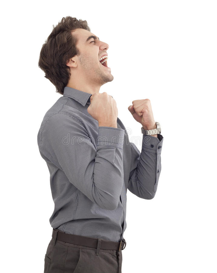 Successful young man arms up royalty free stock photo