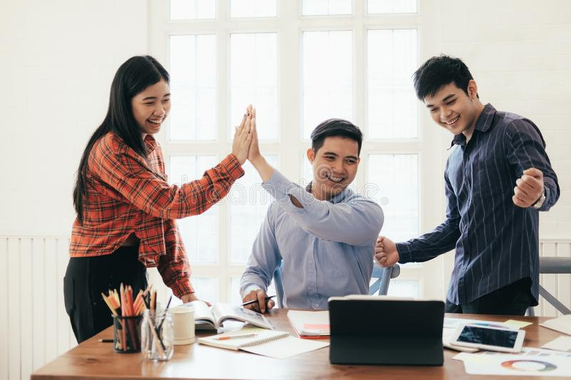 Successful young startup business teamwork stock photo