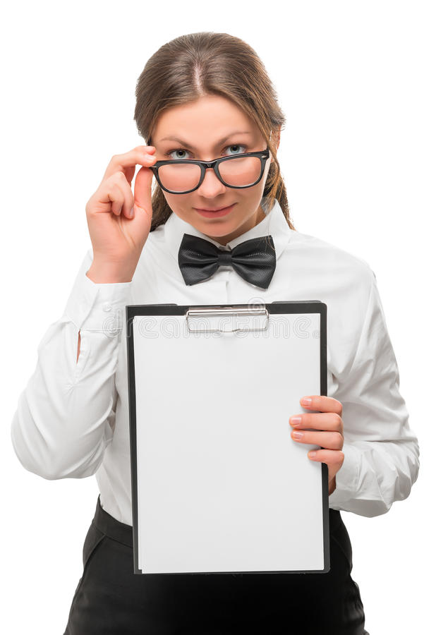Successful young woman with a blank inscription stock photo