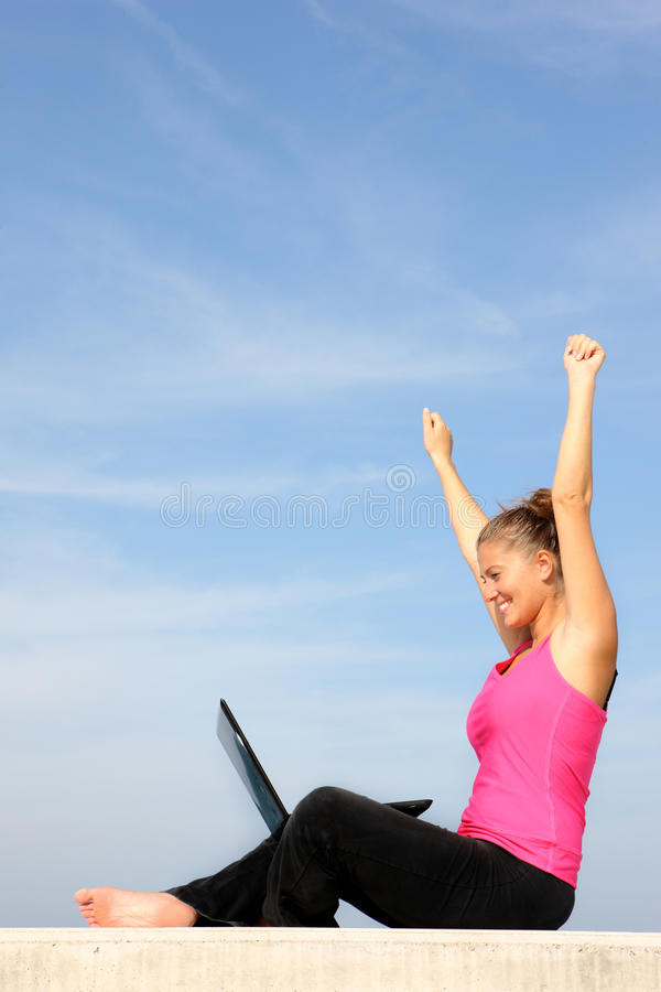 Download Successful Young Woman With Her Laptop Stock Photo - Image: 16443812