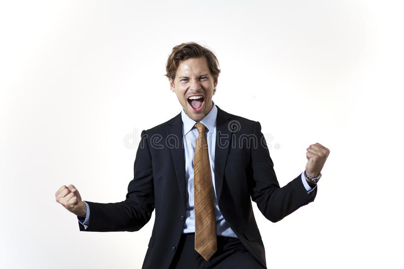 Successfull businessman in moment of victory royalty free stock photography