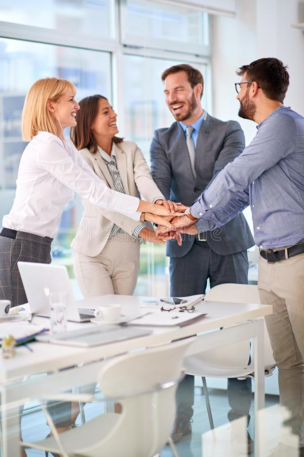 Successfully completed business meeting. Successfully completed business meeting -Teamwork royalty free stock photography