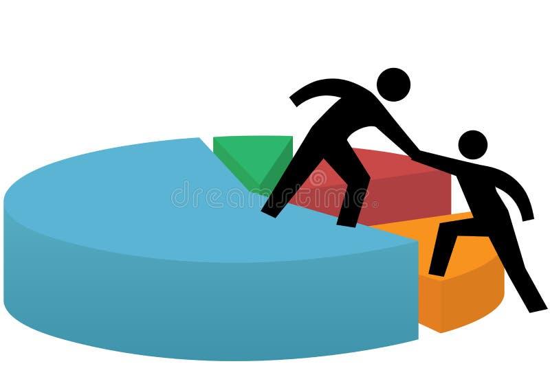 Successo di affari del grafico a settori della mano amica illustrazione vettoriale