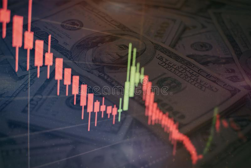 Successo di affari e concetto di sviluppo Grafico del grafico commerciale del mercato azionario sullo schermo digitale Mercato de fotografie stock