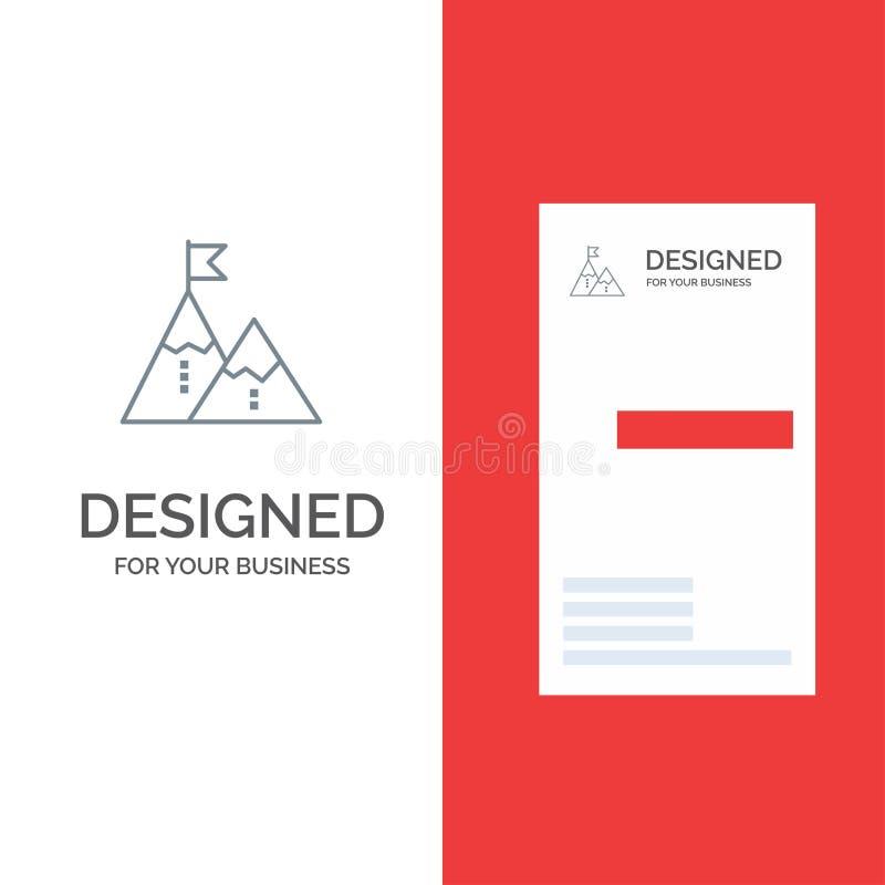 Successo, risultato, bandiera, scopo, missione, montagna, picco, Grey Logo Design e modello del biglietto da visita illustrazione vettoriale